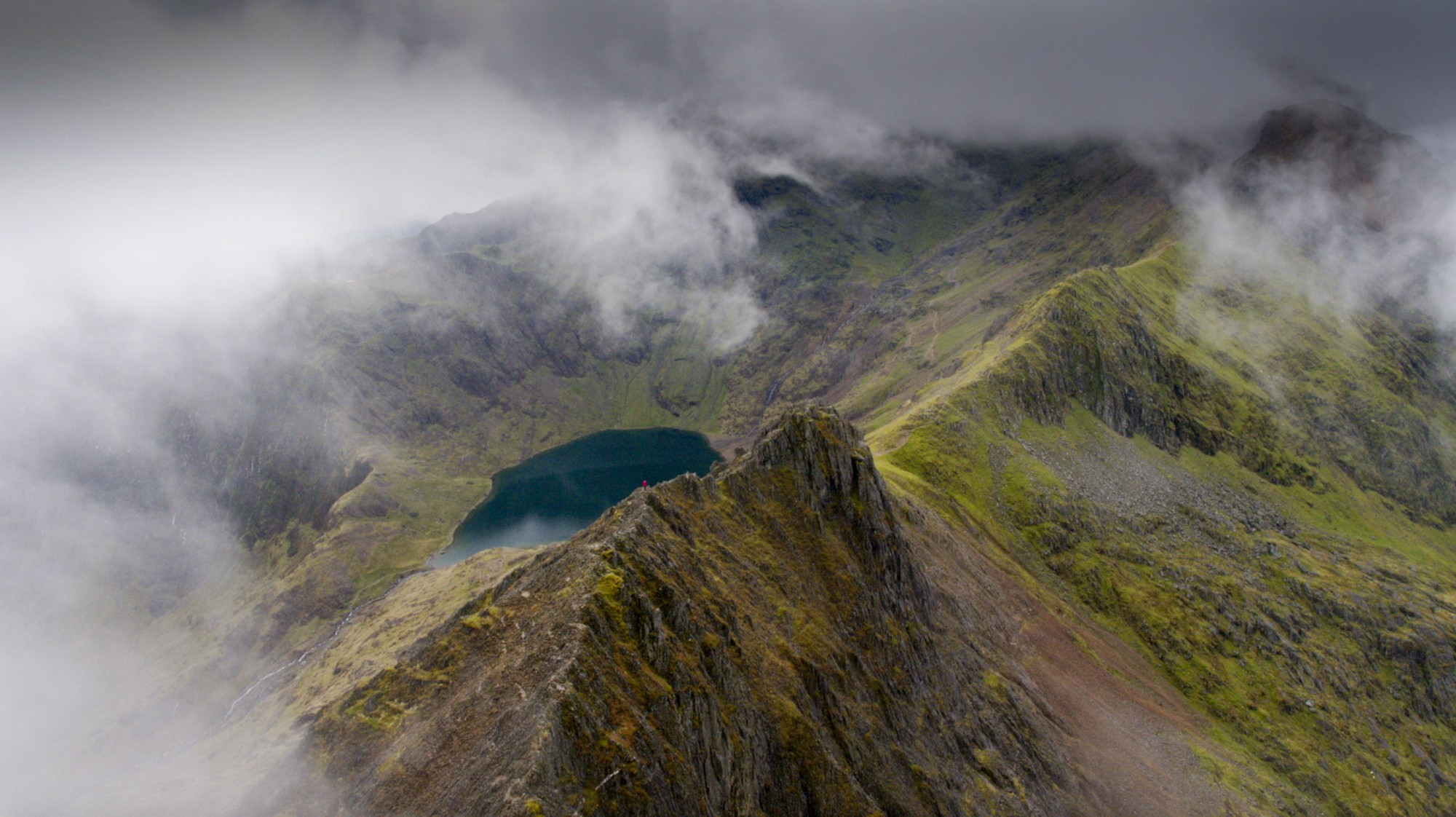 Filming on Crib Goch, Snowdon